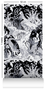 wallpaper roll with underwater mermaid design in classic black and white