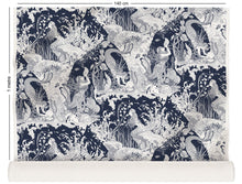 Load image into Gallery viewer, fabric roll with underwater mermaid design in navy blue