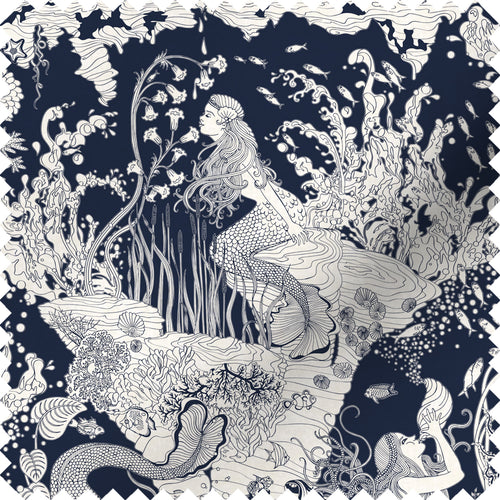 fabric swatch with underwater mermaid design in navy blue