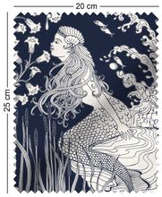 Load image into Gallery viewer, fabric swatch with art nouveau mermaid design in navy blue aubrey beardsley