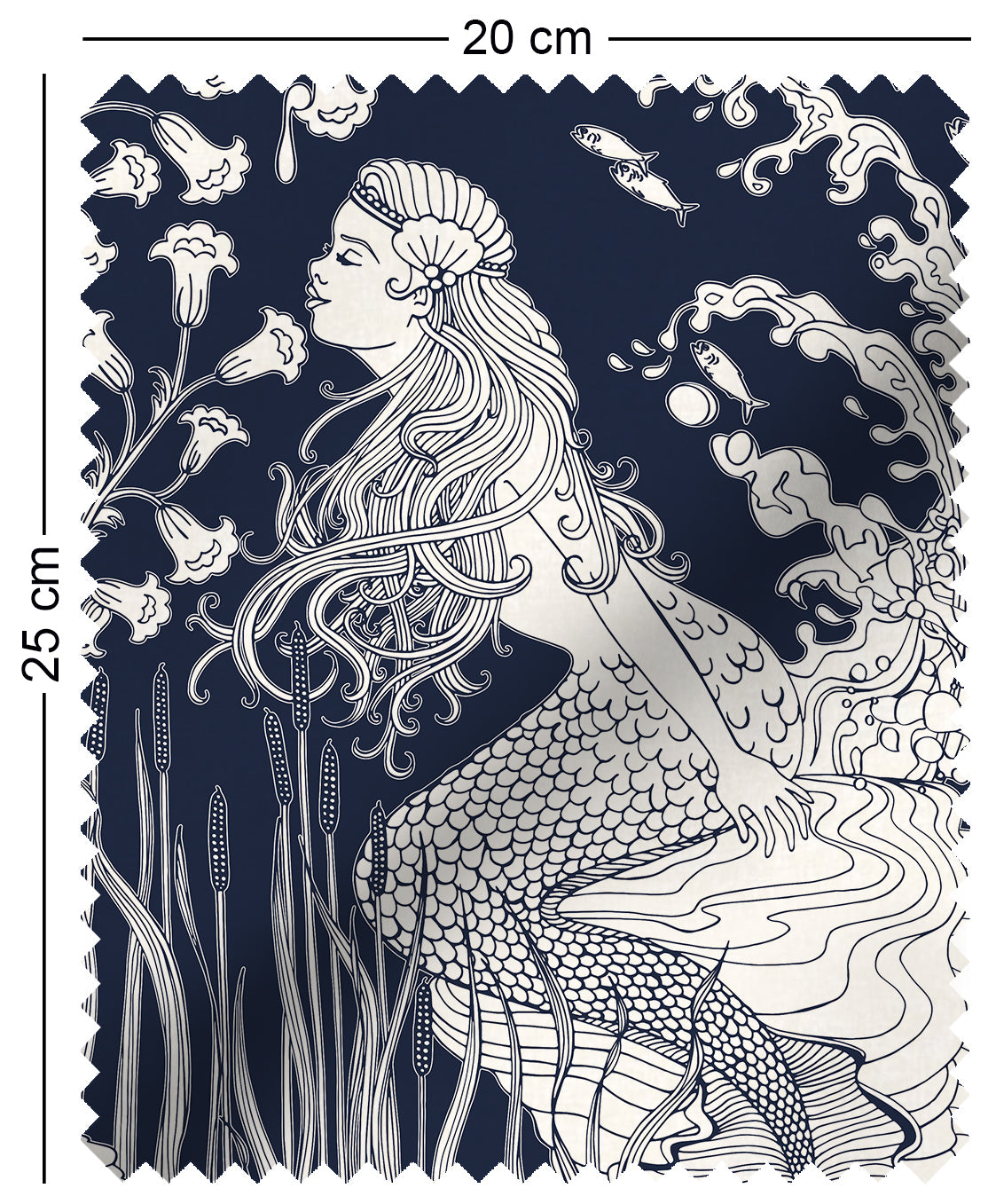 fabric swatch with art nouveau mermaid design in navy blue aubrey beardsley
