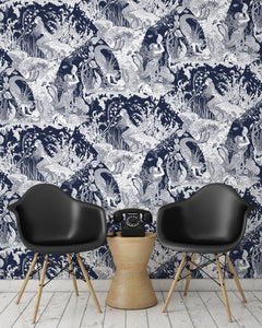 room shot with underwater mermaid wallpaper design in navy blue
