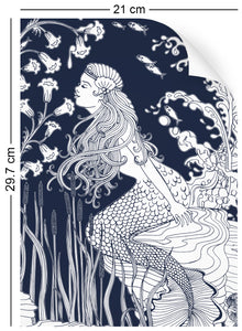 a4 wallpaper swatch with underwater mermaid design in navy blue