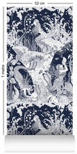 Load image into Gallery viewer, 1m wallpaper swatch with underwater mermaid design in navy blue