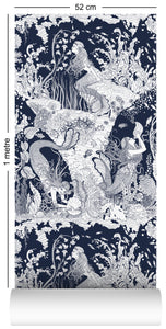 1m wallpaper swatch with underwater mermaid design in navy blue