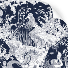 Load image into Gallery viewer, wallpaper swatch with underwater mermaid design in navy blue
