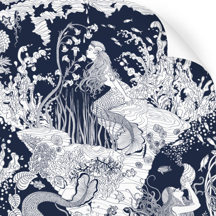 wallpaper swatch with underwater mermaid design in navy blue