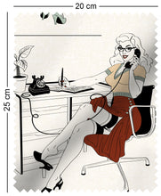 Load image into Gallery viewer, fabric swatch with mad men style office secretaries design in retro colours