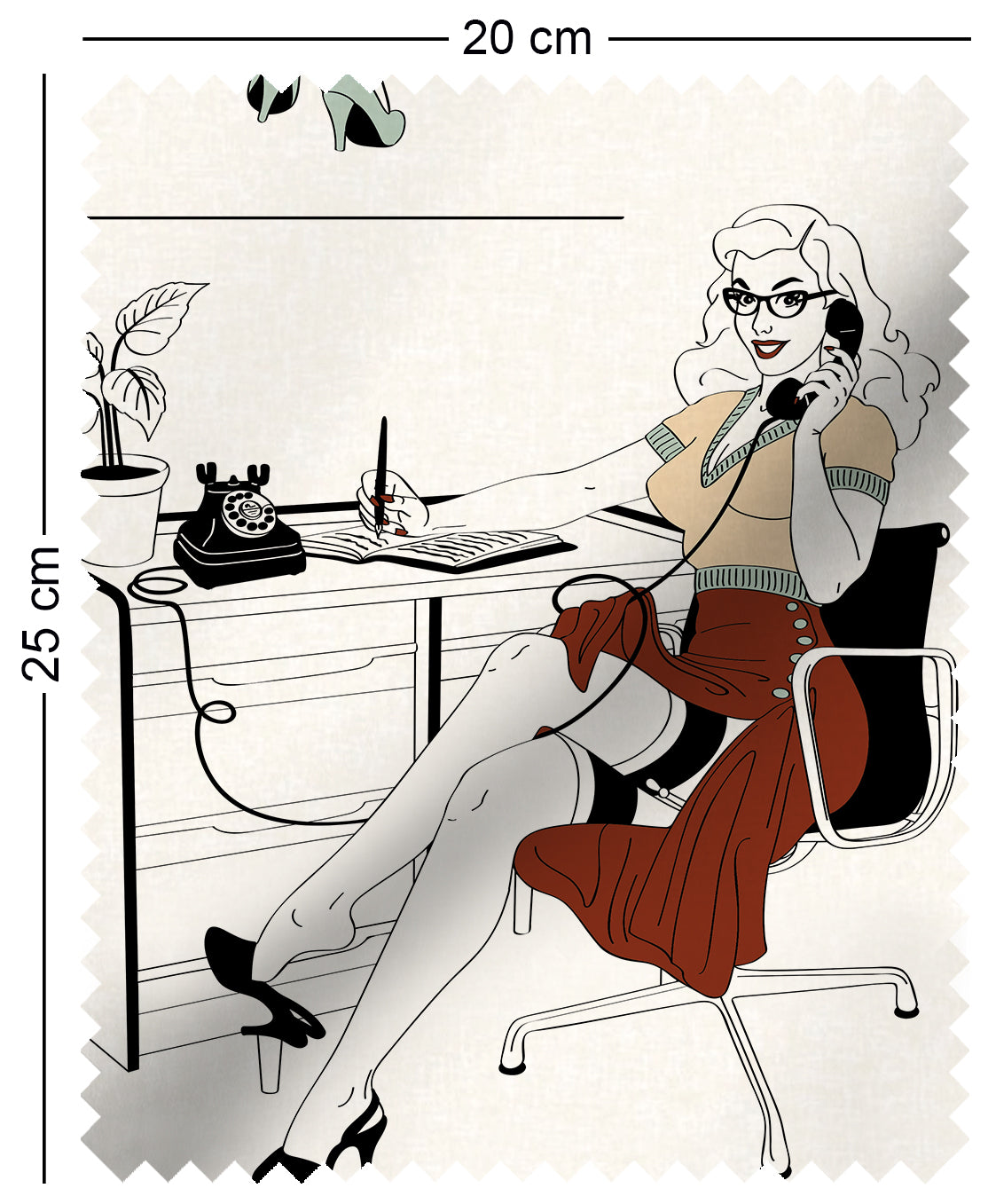 fabric swatch with mad men style office secretaries design in retro colours