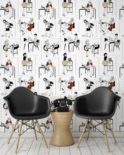 Load image into Gallery viewer, roomshot with sexy office secretaries wallpaper design in retro colours