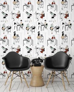 roomshot with sexy office secretaries wallpaper design in retro colours