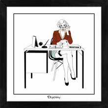 Load image into Gallery viewer, Illustrated art print of sexy secretary in the workplace.