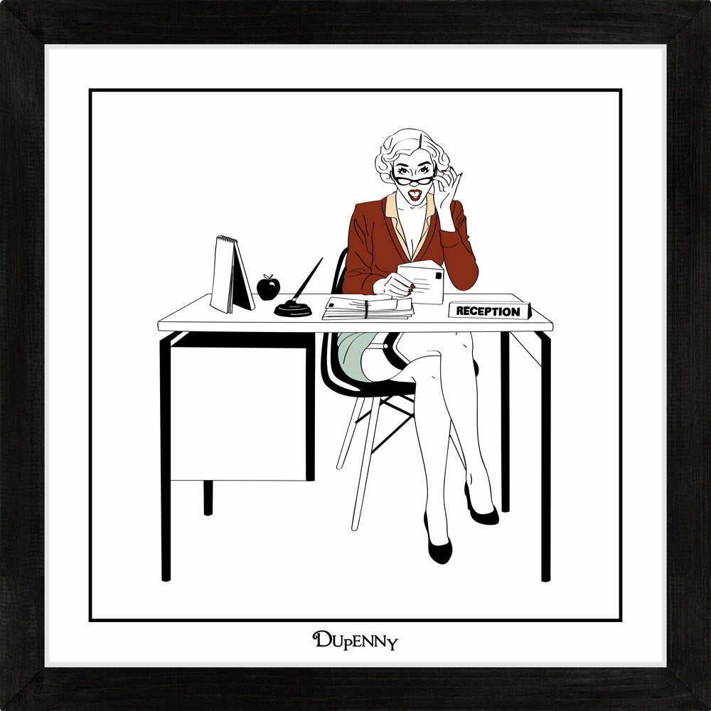 Illustrated art print of sexy secretary in the workplace.