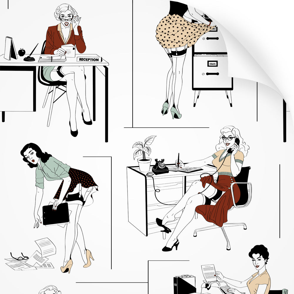 wallpaper swatch with sexy office secretaries design in retro colours