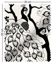 Load image into Gallery viewer, fabric swatch with oriental peacock pattern design in black and white