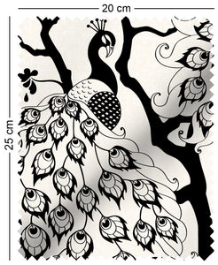 fabric swatch with oriental peacock pattern design in black and white