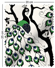 Load image into Gallery viewer, fabric swatch with oriental peacock cherry blossom design with green and blue