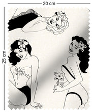 Load image into Gallery viewer, fabric swatch with retro pinup girl design in monochrome Alberto Vargas George Petty