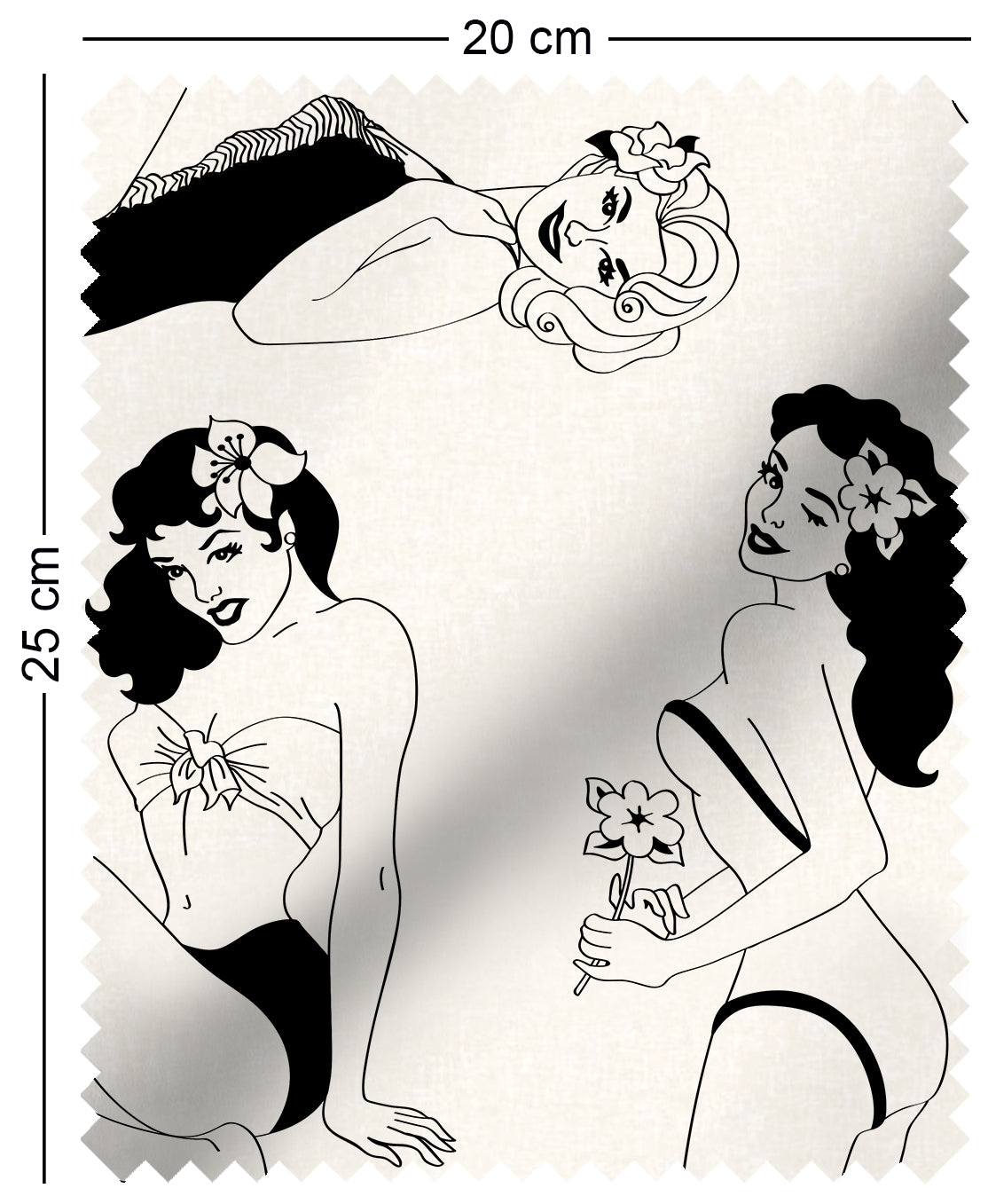 fabric swatch with retro pinup girl design in monochrome Alberto Vargas George Petty