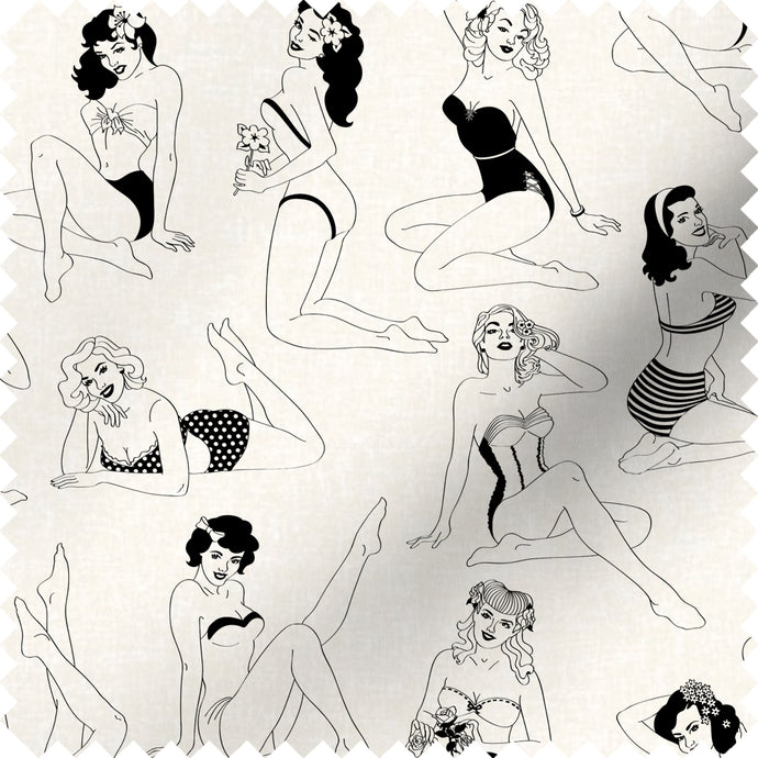 fabric swatch with retro pinup girl design in monochrome