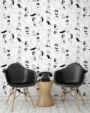 Load image into Gallery viewer, room shot with retro pinup girl wallpaper design in monochrome