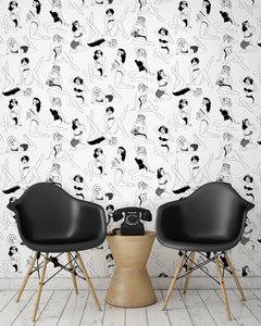 room shot with retro pinup girl wallpaper design in monochrome