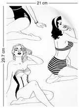 Load image into Gallery viewer, a4 wallpaper swatch with retro pinup girl design in monochrome