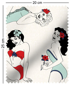 fabric swatch with classic pinup girl design in retro colours Gil Elvgren Alberto Vargas