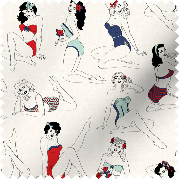fabric swatch with pinup girl design in retro colours