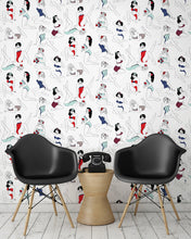 Load image into Gallery viewer, room shot with pinup girl wallpaper design in retro colours