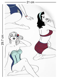 a4 wallpaper swatch with pinup girl design in retro colours