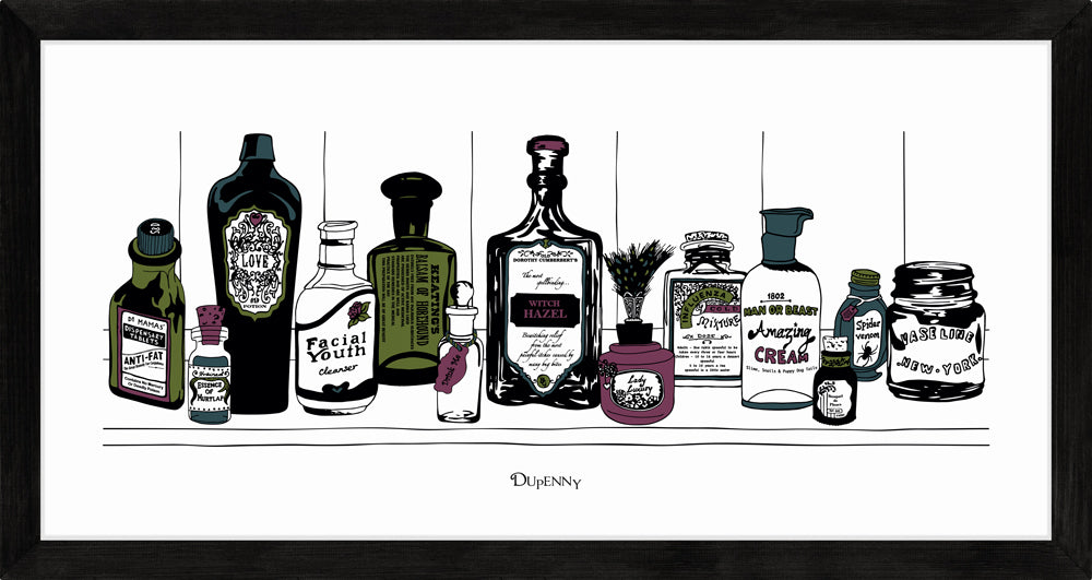 Art print of Victorian apothecary shelf with potions.