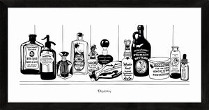 Monochrome art print of Victorian apothecary shelf with potions.