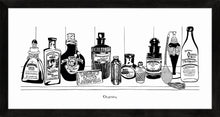 Load image into Gallery viewer, Monochrome art print of Victorian apothecary shelf with potions.