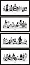 Load image into Gallery viewer, Set of four monochrome art prints of Victorian apothecary shelves with potions.