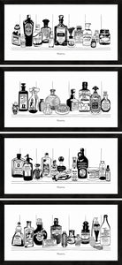 Set of four monochrome art prints of Victorian apothecary shelves with potions.