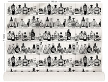 Load image into Gallery viewer, fabric roll with victorian apothecary design in black and white