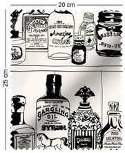 Load image into Gallery viewer, fabric swatch with victorian apothecary medicine bottles on shelf design in black and white