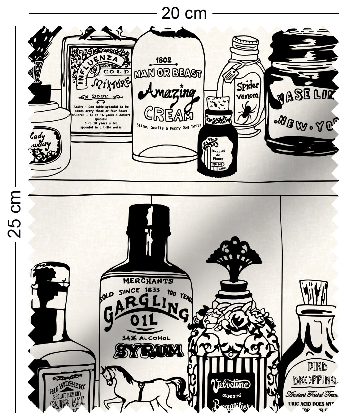 fabric swatch with victorian apothecary medicine bottles on shelf design in black and white