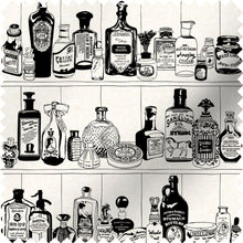 Load image into Gallery viewer, fabric swatch with victorian apothecary design in black and white