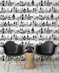 room shot with victorian apothecary wallpaper design in black and white