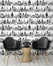 Load image into Gallery viewer, room shot with victorian apothecary wallpaper design in black and white