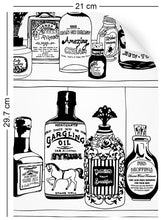 Load image into Gallery viewer, a4 wallpaper swatch with victorian apothecary design in black and white