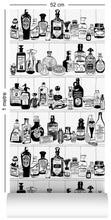 Load image into Gallery viewer, wallpaper roll with victorian apothecary design in black and white