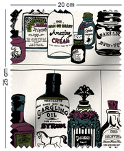 Load image into Gallery viewer, fabric swatch with victorian apothecary medicine bottles on shelf design with green, purple and teal