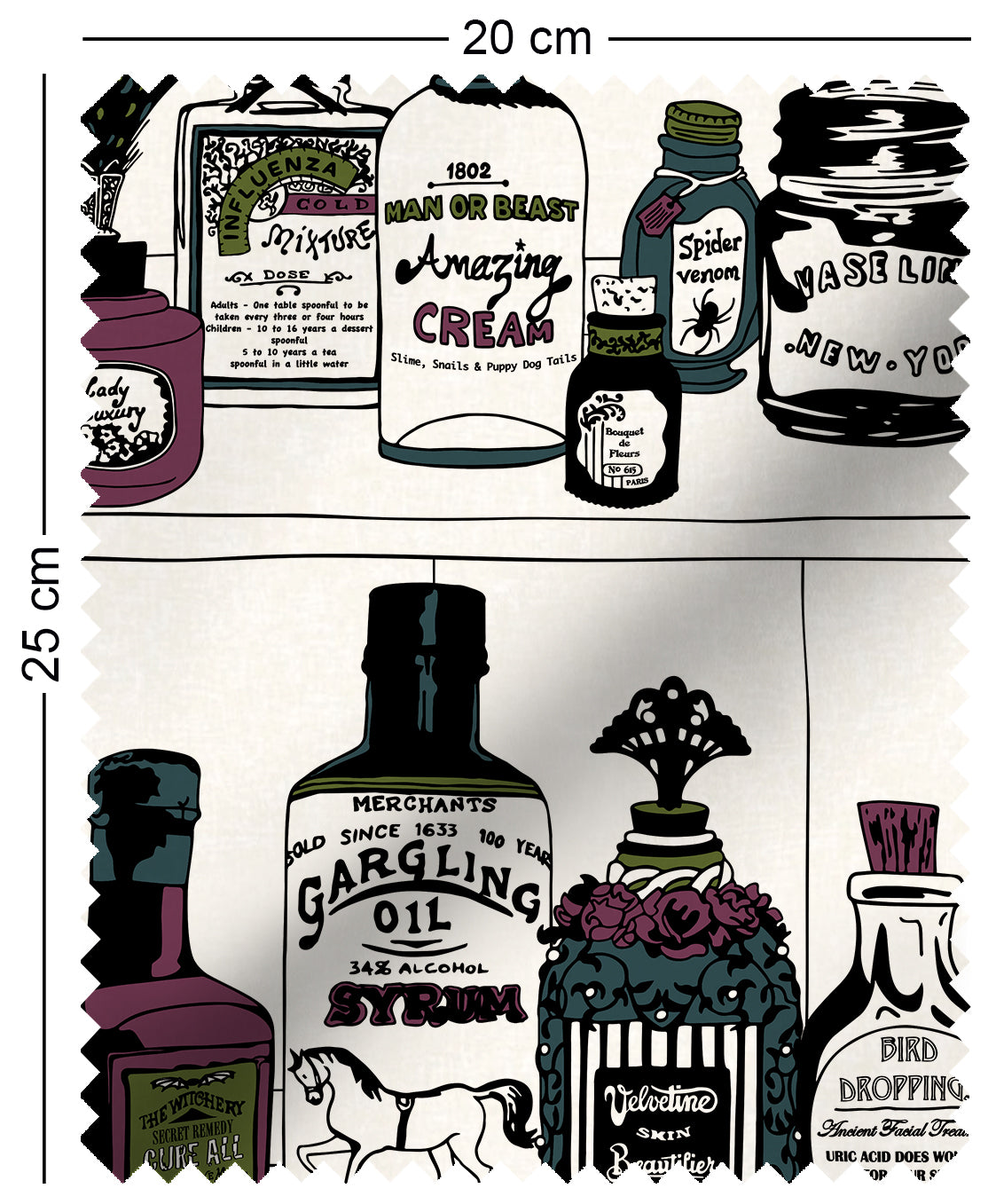 fabric swatch with victorian apothecary medicine bottles on shelf design with green, purple and teal