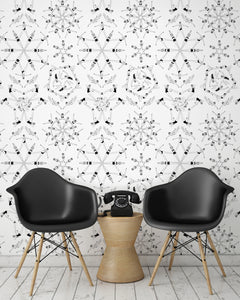room shot with synchronised swimmer wallpaper design in monochrome