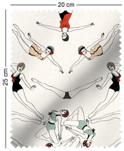 Load image into Gallery viewer, fabric swatch with retro synchronised swimmers design in colour 1950s pinups