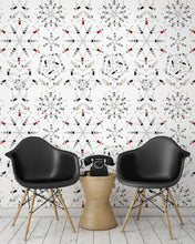 Load image into Gallery viewer, room shot with synchronised swimmer wallpaper design in retro colours