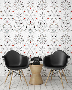 room shot with synchronised swimmer wallpaper design in retro colours